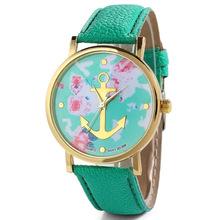 2015 nuevas mujeres del reloj Floral oro molido anclas patrón Casual reloj de cuarzo reloj de pulsera vestido Relogio horas