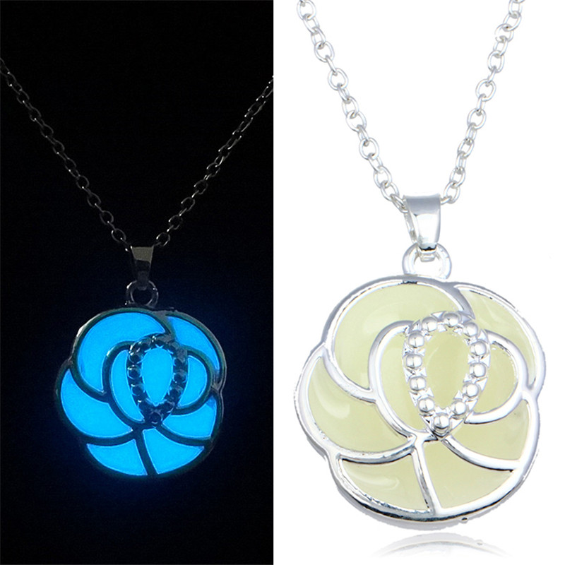 Steampunk Magic Glow In The Dark Flower Pendant Charm Necklace Jewelry For Women Valentine's Day Gift Blue Green Free Shipping(China (Mainland))
