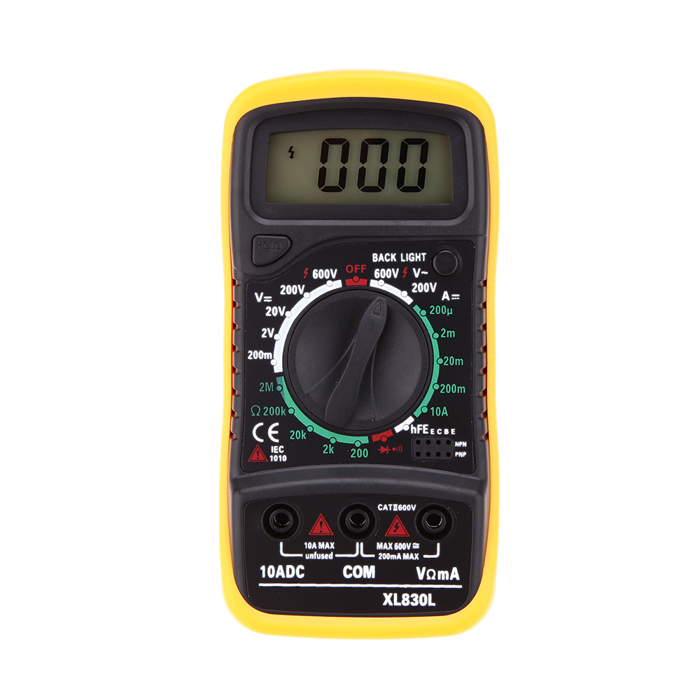XL830L Mini Portable Digital Multimeter Current Voltage Resistance Transistor hFE Temperature Tester Multimetro with LCD Backlit(China (Mainland))