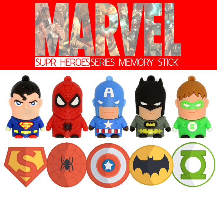 Cartoon Hero Pen Drive 4GB 8GB 16GB 32GB memory stick FREE Shipping Pendrive PVC Bat Man Super Man Avengers USB Flash Drive(China (Mainland))