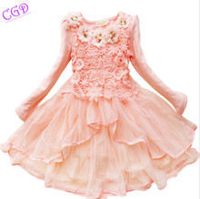 2016 Spring Girls Dresses Long-sleeved Princess Party Dress Baby Girl Clothes Sweet Five Flowers Lace Dress Children Clothing