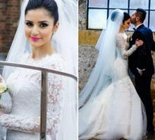 Fashion 2016 Lace Long Sleeve Muslim Wedding Dress Elegant Mermaid Vestido De Noiva Appliques Court Train Bridal Gowns(China (Mainland))