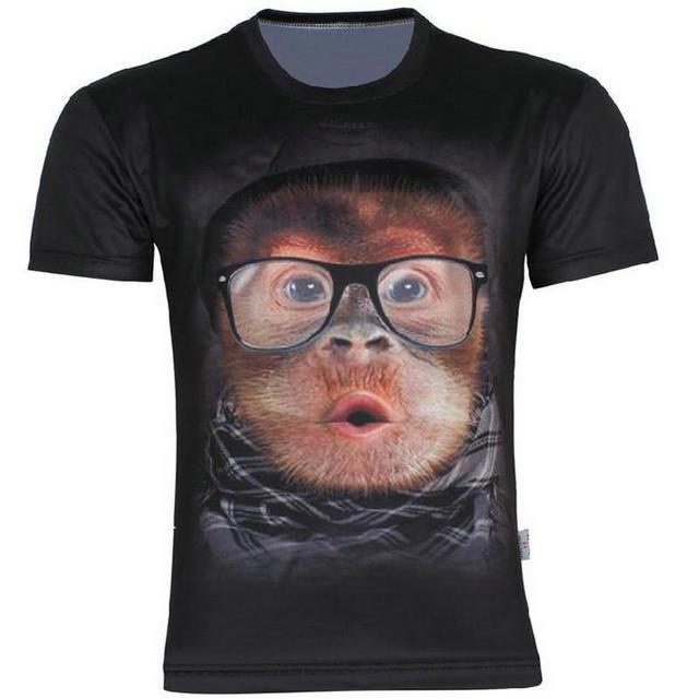 Новый мужской творческой животных футболка кролик / обезьяна / тигр лица / слоны / волк с коротким рукавом футболки летней одежды