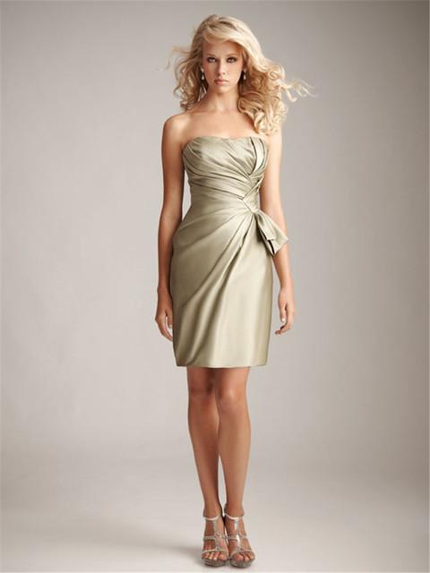 Простой рукавов с плеча невесты платья короткие тафты платья фрейлина платья Жилетidos ...