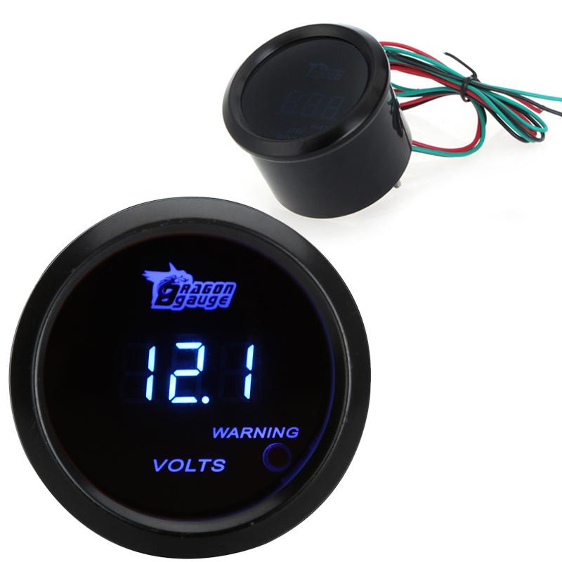 Universal Led Auto Meter Gauge Car Digital Voltage Tester Monitor 52mm 2in LCD 0~15V Warning Light Black 0-15V(China (Mainland))