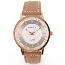 New Fashion Luxury Khaki Band Watch Gold and Sliver shell brown Leather unisex wristwatch Casual Men