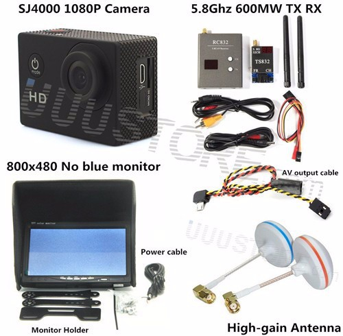 RC FPV Combo System boscam 5.8ghz 5.8G 600mw transmitter receiver No blue monitor SJ4000 Camera for walkera CX20 DJI Phantom QAV250 F450 2