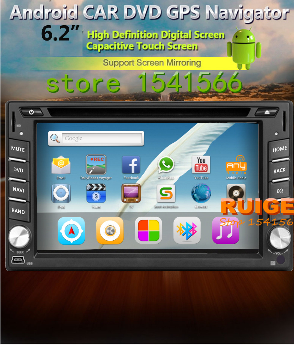 """Free Rear view camera android 4.2 System Universal 2Din Car Radio GPS Bluetooth WiFi BT TV PC 6.2"""" Inch Car Stereo DVD Player()"""