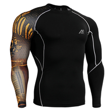 Name Brand Man's Compression Shirts Long Sleeves One Side 3D Prints Weight Lifting Skin Tghts Top Shirts Fitness Sport Fixgear