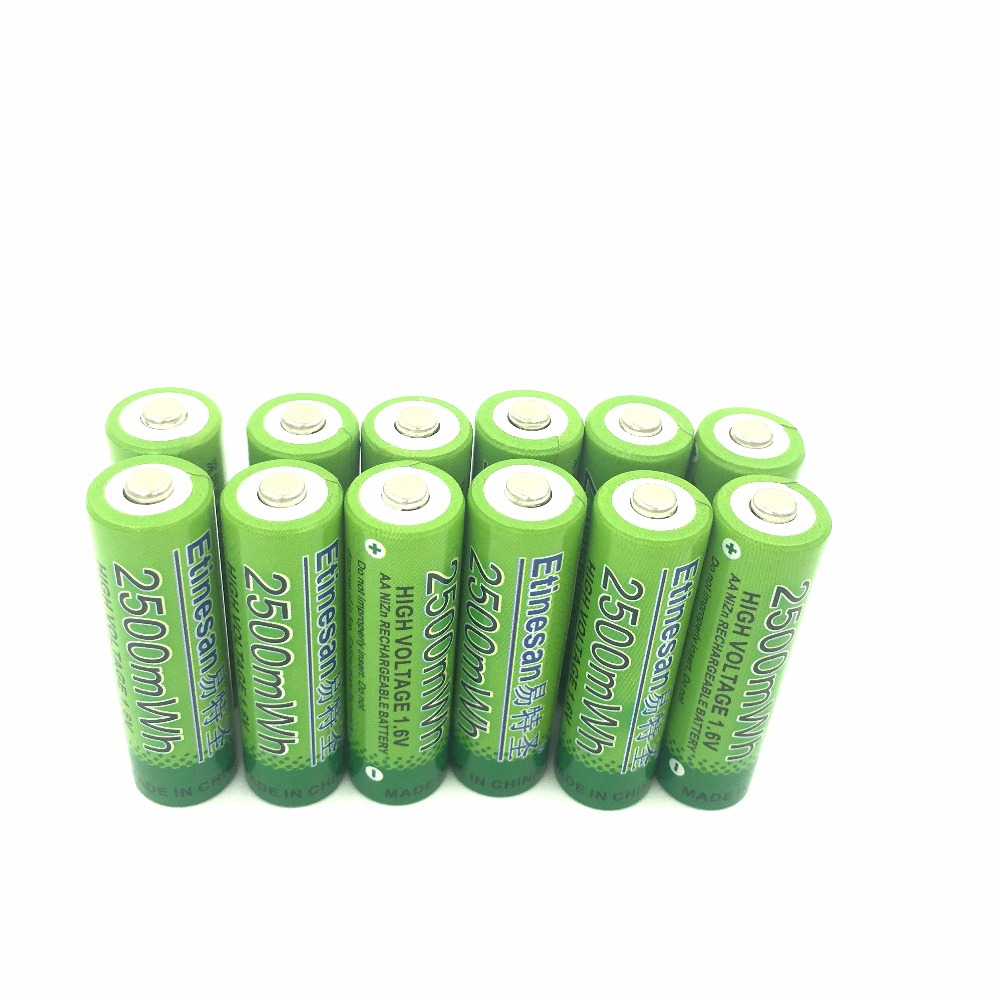 Super 12Pcs/lot ETINESAN 2500mwh NiZn 1.6V AA Rechargeable BATTERY more than 1.5v High Voltage For High Drain Usage(China (Mainland))