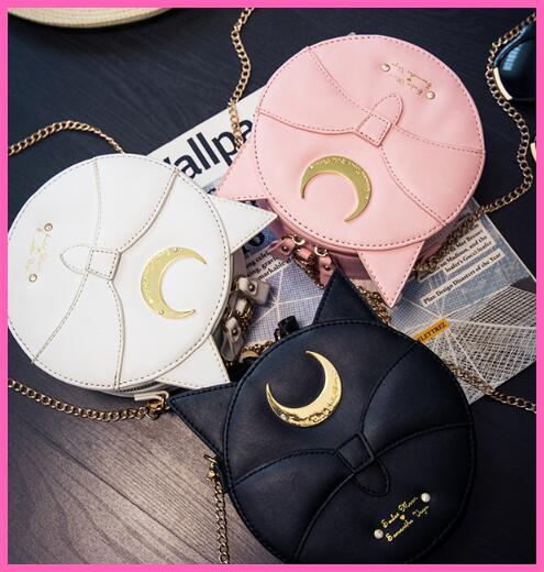 Unique Summer Limited Sailor Moon Bag Ladies Handbag Black White Pink Cat Luna Moon Women Messenger Crossbody purse flap A046(China (Mainland))