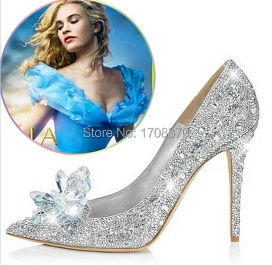 2015 Movie Cinderella High Heels Women Pumps Wedding Shoes Woman Pointed toe Rhinestone Platform Butterfly Crystal Shoes S-3246