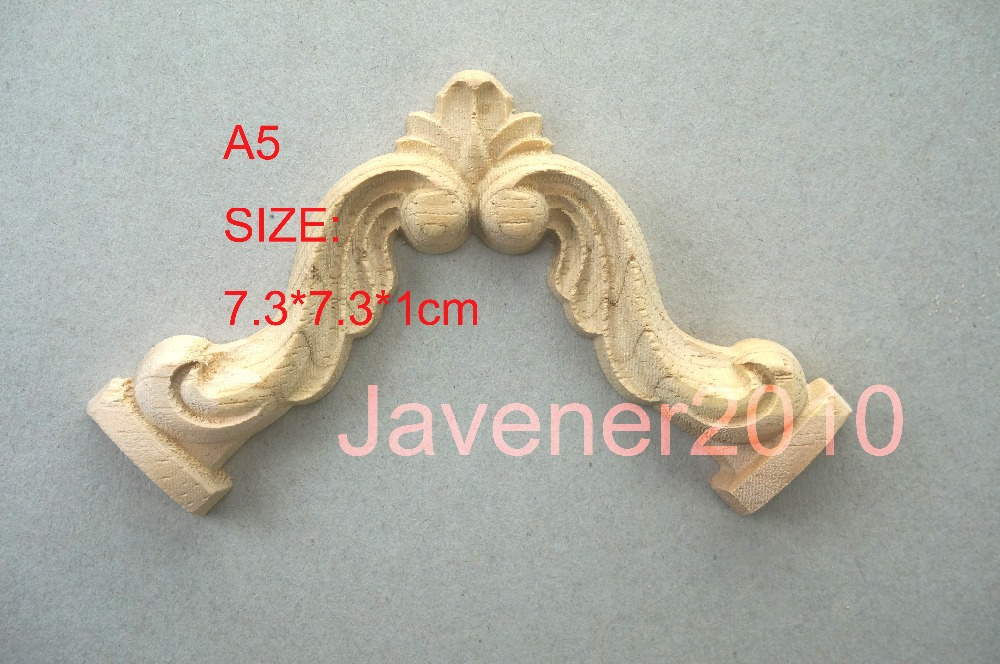 A5- 7.3*7.3*1cm Rubber Wood Carved Carving Corner Onlay Applique Architectural Cabinet Furniture Door Unpainted(China (Mainland))