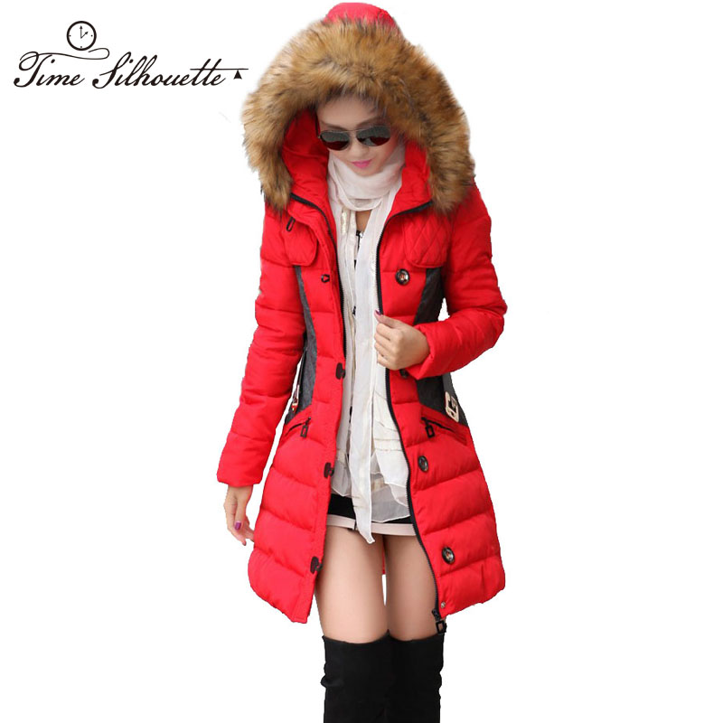 Brand New Winter Jacket Women Parka Coat Abrigos y Chaquetas Mujer Invierno 2015 Big Fur Collar Hood Clothing Anorak Jacket H04(China (Mainland))