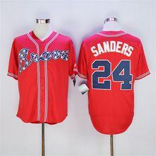 Deion Sanders Baseball Jersey Atlanta Braves 24# Jersey, High Quality Stitched Beige Blue Red White(China (Mainland))