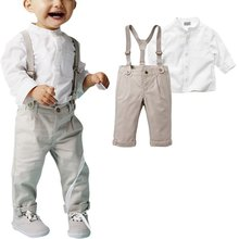 Autumn Kids Boy Clothes Set Long Sleeve Tops + Long Suspender Trousers 5 Sizes