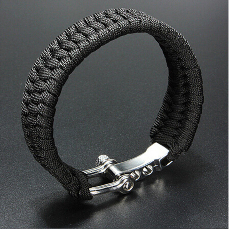 Survival Rope Bracelet Camping Black ParaCord Rope Bracelet Outdoor Steel Shackle Buckle Free Shipping(China (Mainland))