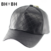 Hot sale Unisex Casual Snapbacks Baseball Hat Black PU Leather Flat brim Baseball Caps Hip hop Cap For Men Women BH-LDL051