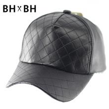 Hot sale Unisex Casual Snapbacks Baseball Hat Black PU Leather Flat brim Baseball Caps Hip hop Cap For Men Women BH-LDL051