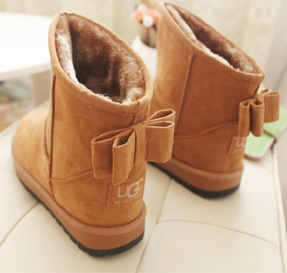 New arrival women boots bowtie winter boots 2015 fashion Warm Ladies snow women boots snow shoes 2015(China (Mainland))