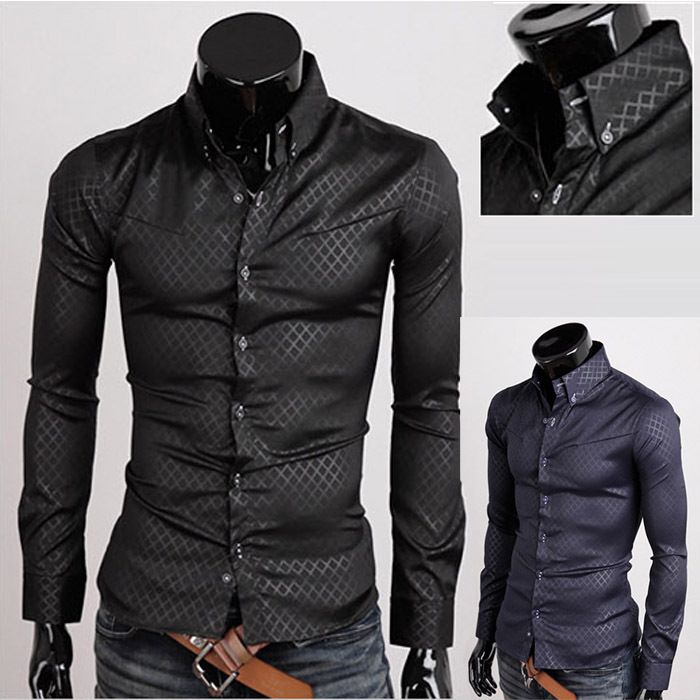 2013 new long sleeve men 39 s shirt business shirts casual slim fit. Black Bedroom Furniture Sets. Home Design Ideas