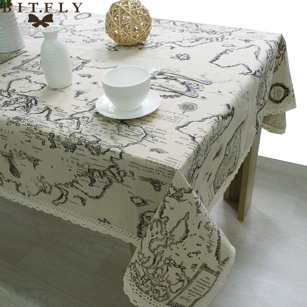 New Arrival World Map Lace Table Cloth Square Rectangular Tablecloth Linen Table Cover Home Restaurant Decoration High Quality(China (Mainland))