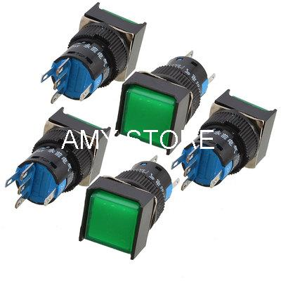 AC 250V 5A 1P2T Green Cap Latching Locking Push Button Switch 16mm Mounting Hole(China (Mainland))