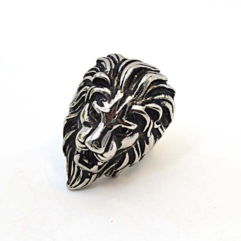 New Arrival Mens Skull Rings Vintage Black Stainless Steel Animal Lion Head Finger Rings Jewelry(China (Mainland))