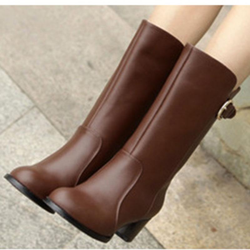 ベルベットの内側プラス5cmハイヒールの冬のレインブーツ革靴、 女性中旬, ふくらはぎ雪femininasbottesfemmesボタスzapatos女性のアクセサリー