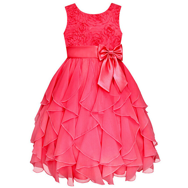 On Sale Christmas Flower Baby Girl Dresses Red Sequin Big Bow Baby Party Dress for wedding vestidos New Year For Girls Clothes(China (Mainland))