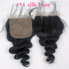 DHL Free Shipping Loose Wave Virgin Human Hair Silk Base Closure,4*4 Silk Base Top Closure Bleach Knots