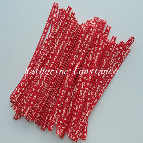 10*0.4cm Red Paper Retail Especially for you Wire Twist Tie Cookie Bakery Gift Tie Packaging Rope Belt Food Bags Seals Packing(China (Mainland))