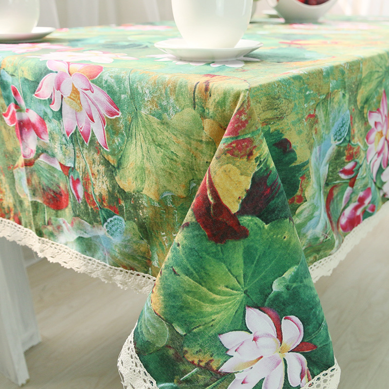 Hot sales rustic linen flower printing linen Zakka dining room lace tablecloth(China (Mainland))