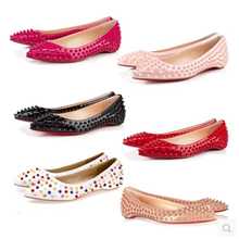Free Shipping 2016 luxury Brand designer Shoes Women Sex Red bottom Flat Heels Pointed Toe Shoes Gold Sliver Wedding shoes F163(China (Mainland))