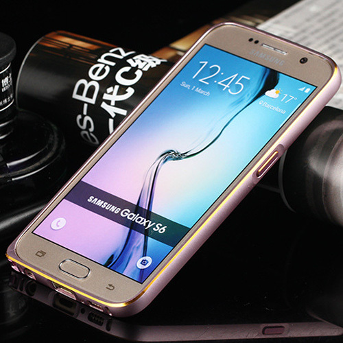 ultra thin S6 bumper With Metal Button Gold edge Aluminum Metal Bumper for samsung galaxy S6 G9200 metal bumper case(China (Mainland))