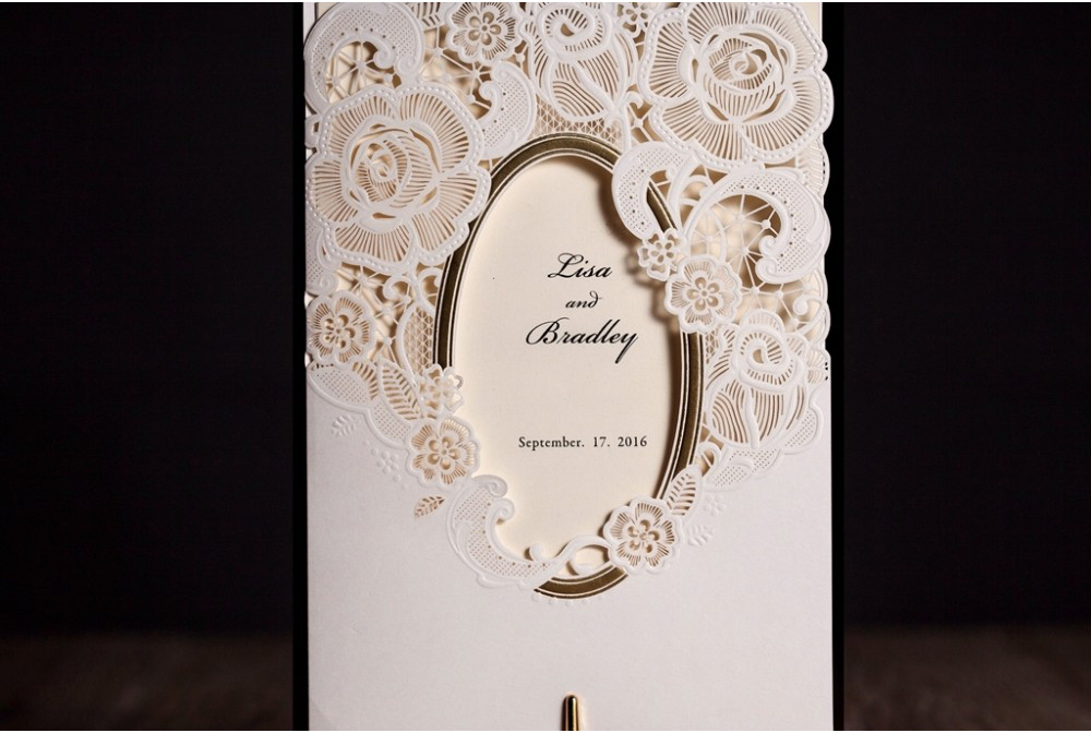 Wishmade White Mirror Frame Wedding Invitations Elegant Laser Cut Flora Lace Invite Paper Greeting Cards With Envelopes Cw5185