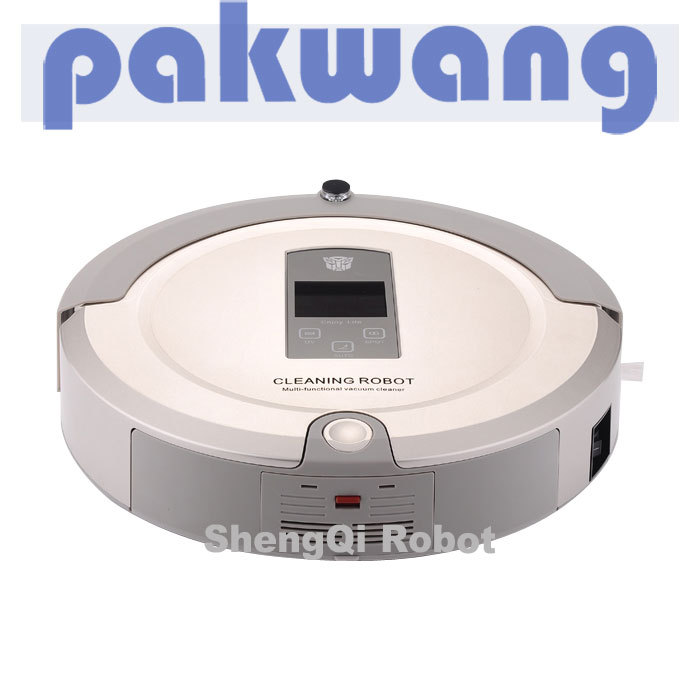 Multifunctional Robot Vacuum Cleaner for home WJ01 White (Vacuum,Sweep,Mop,Air Flavor),Virtual Wall,LCD,Schedule,disfraz(China (Mainland))