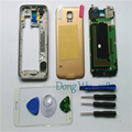 Gold Original Mobile Phone Replacement Full Housing Cover Case Screen Glass Lens For Samsung S5 Galaxy