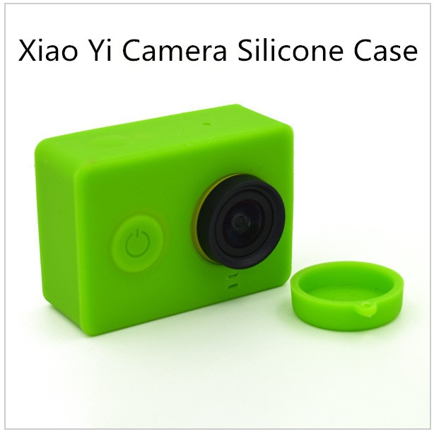 For accessories for Xiaomi Xiaomi Yi Yi camera colorful leather case silicone rubber housing with a protective lens cover Cap(China (Mainland))