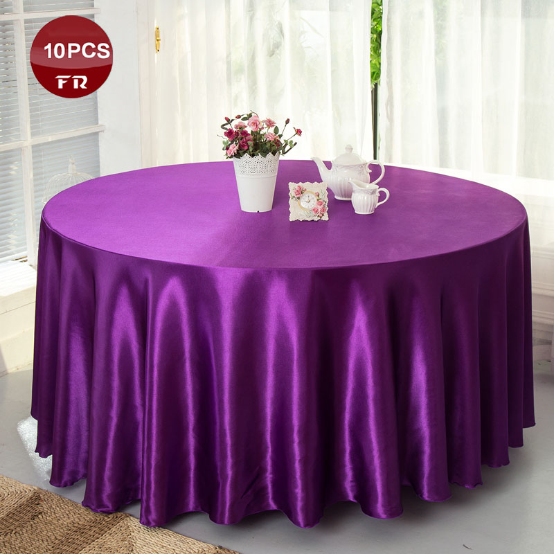 10PC/Lot Table Cloth Satin Tablecloth of Wedding Decoration/ White Satin Ribbon Table Cover Overlays for Banquet Hotel Party(China (Mainland))