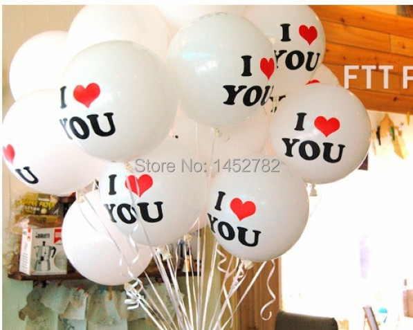 10pcs/lot 12 inch Pearl Latex Balloon I LOVE YOU Balloons Party Christmas Decorations Wedding Decorations Just Married(China (Mainland))
