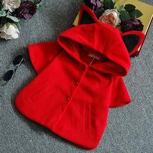 2015 spring Autumn winter short sleeve wool Baby Girl Shawl Coats cut red girls Hoody Poncho Coat Kid Clothing Jacket outerwear(China (Mainland))