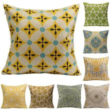 Geometric Flower Cotton Linen Throw Pillow Case Cushion Cover
