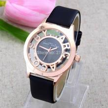 Nueva moda 7 colores hueco Rose Dial analógico banda de cuero Girl cuarzo reloj de pulsera