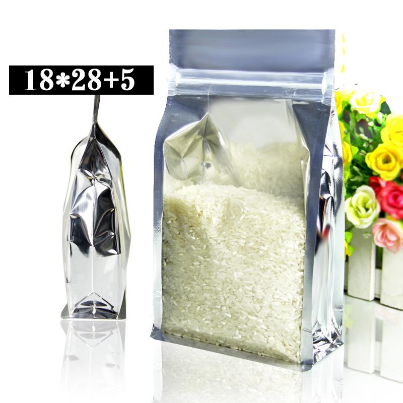 50pcs/lot 18cm*28cm+5cm*200mic High Quality Retail Packaging Bag Food Grain Bags Wholesaler(China (Mainland))