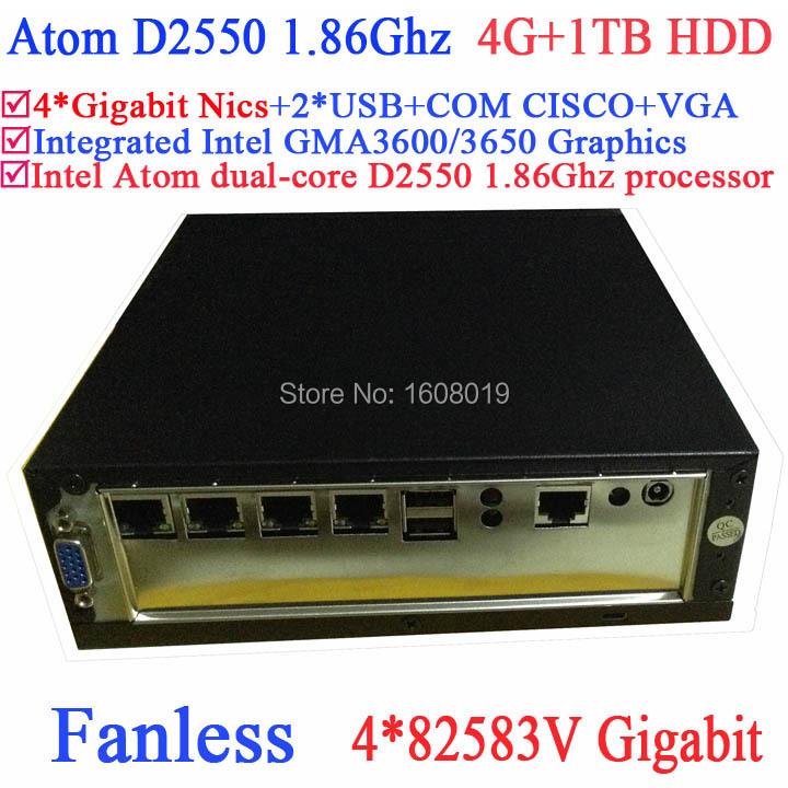 best mini server fanless Intel Atom dualcore D2550 1.86Ghz 4*82583V Gigabit Nics Wake on LAN 12VDC 4G RAM 1TB HDD Windows Linux(China (Mainland))