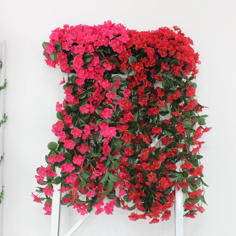 Lifelike Violet Orchid Ivy Artificial Flower Hanging Plant Silk Garland Vine for Wedding Home Decoration 2