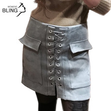 Buy 2017 Fashion Womens Autumn Lace-up Leather Suede Pencil Skirt Winter Cross High Waist Mini Skirt Split Bodycon Short Skirts for $14.35 in AliExpress store
