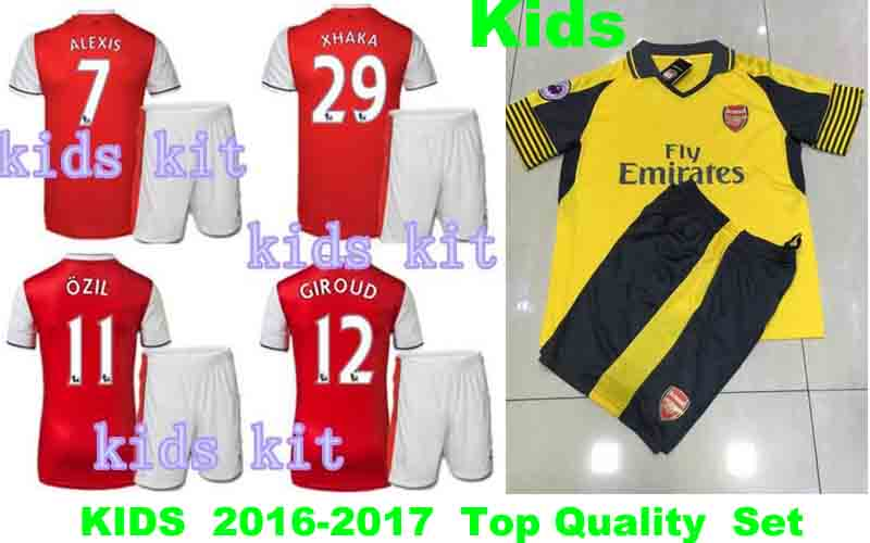 New Kids Kit 2016 2017 Arsenales Home red away yellow Best Quality Soccer Shirt 16 17 Chilren boys youthes camisetas de futbol(China (Mainland))