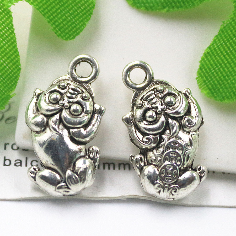 """20pcs/lot """"N129"""" Antique Silver Double Side Peacio Lucky animal charms Alloy Pendant Jewelry Making Findings DIY 18*10mm(China (Mainland))"""